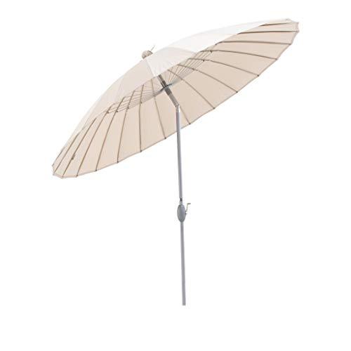 SORARA Sonnenschirm Parasol   Beige/Sand   Ø 260 cm   Rund Shanghai   Polyester 180 g/m² (UV 50+)  Kurbel & Pendel Mechanismus (excl. Base)