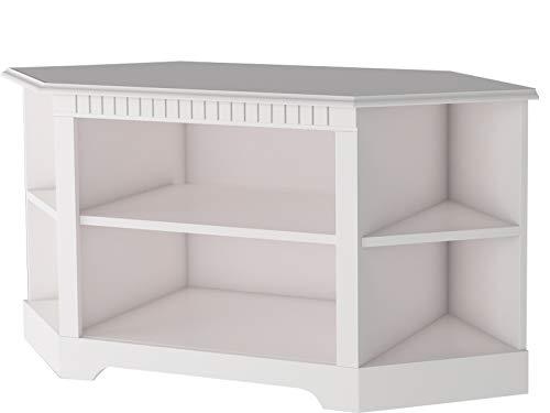HiFi TV-Bank fürs Eck Lowboard weiß Kiefer Massivholz Landhaus Fernsehschrank 4 Fächer 120 x 54 x 55 cm