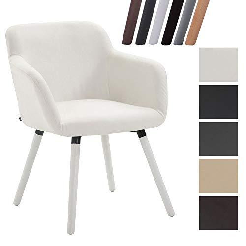 Clp sedia da pranzo debbie similpelle - poltroncina design imbottita con braccioli i sedia 4 gambe in legno di quercia i sedia visitatore o soggiorno portata max 150 kg bianco bianco