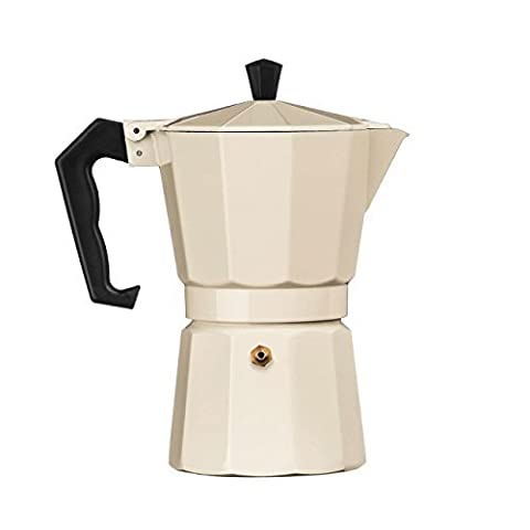 Traditional Italian Style Design 6 Cup Espresso Coffee Maker - Cream Aluminium by Premier Housewares BY PRIME FURNISHING