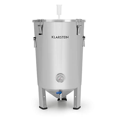 Klarstein gärkeller fermentatore - paiolo di fermentazione, bollitore per birra o vino, 30 l, termometro, coperchio a tenuta ermetica, rubinetto di scarico, igienico: acciaio inox 304.