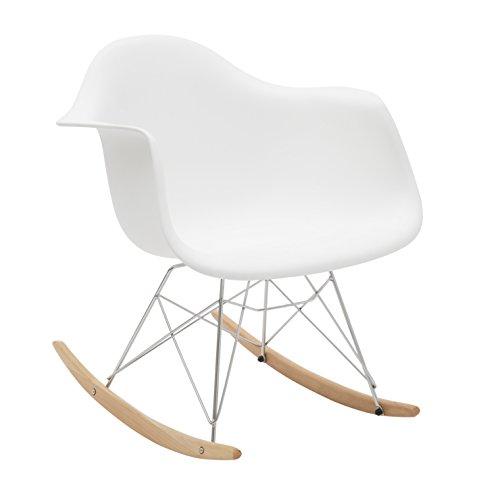 White loft lf45 poltrona a dondolo, legno, bianco, 62x65x70 cm,