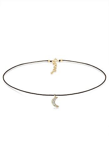 Elli Damen-Kette mit Anhänger Astro Choker Halbmond 925 Silber Kristall weiß 36 cm - 0104492517_36