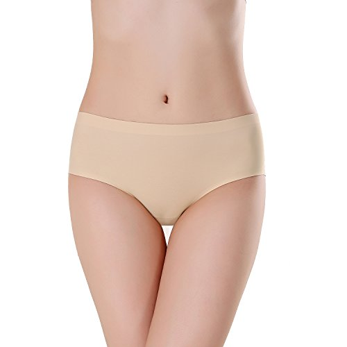 FZmix Top Quality Summer Style Women Sexy Panties Thin Seamless Briefs Ice Silk Underwear Ladies Intimates Calcinha Plus Size Beige