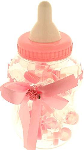 Bomboniere biberon maxi rosa 18xh36cm + 30 biberon piccoli 4xh9cm rosa nascita battesimo compleanno confettata