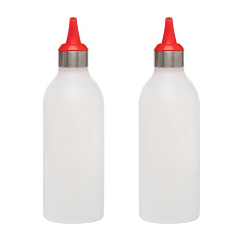 UKCOCO 2 stücke 450 ML Kunststoff Squeeze Flasche Würze Dispenser Mit Dekorator Tipp Lochabdeckung für Küche Sauce Essig Öl Ketchup Marmelade Flasche (rot) - Ketchup Squeeze Dispenser