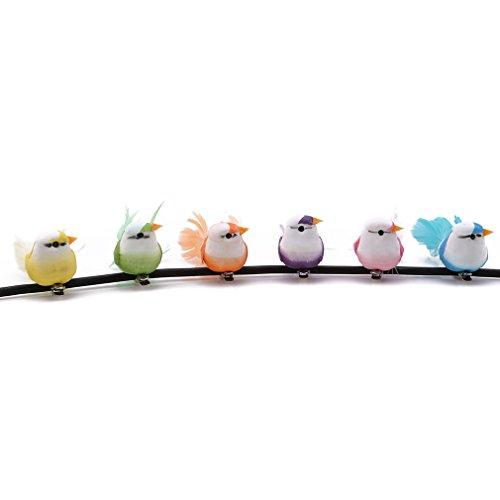 kemai 6 Stück Clip Vögel Dekoration, Dekorative künstliche Schaumstoff-Mini-Liebesvögel mit Niedlichen künstlichen Federn Vogel Weihnachtsbaum Dekoration Basteln -