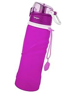 Tabiger Faltbar Platz Sparen Große Kapazitäten 750ml Silikon Wasserflasche Trinkflasche Cup zu Jederzeit und überall (B-Violett)