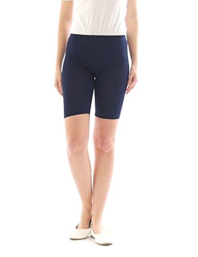 Damen Sport Shorts Hotpants Sportshorts Radler kurze Leggings Baumwolle dunkelblau M
