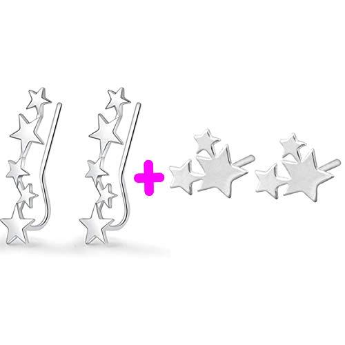 PPX 2 Pares Pendientes Pequeños Estrellas Mujer