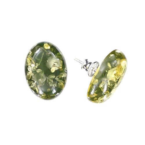 Ohrringe Natur Bernstein von Artisana-Schmuck, ovale grüne Ohrstecker 925/000 Sterling Silber