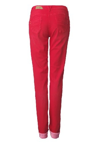 Million X Damen Push up Bauch weg Jeans VICTORIA DOUBLEFACE Rot