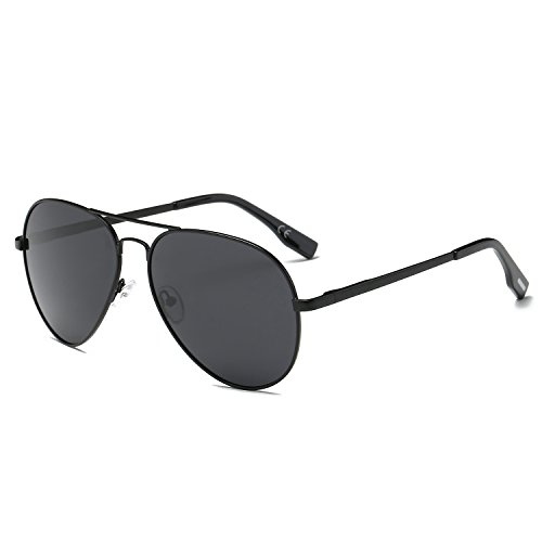 AMZTM Klassisch Mode Doppelbrücke Schwarz Metall Rahmen Pilotenbrille Grau Linsen Polarisiert Damen Und Herren Aviator Sonnenbrille (Schwarze Sonnenbrille Aviator)