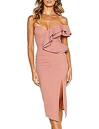 49f77ed713fe27 ECOWISH Damen Kleid Sexy Rückenfrei Cocktailkleid Eine Schulter Partykleid  Asymmetrisch Ärmellos Rüschen Schlitz Bodycon…