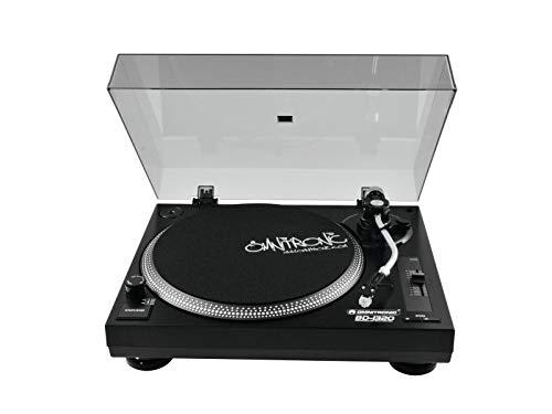 Omnitronic BD-1320 Plattenspieler schwarz | Riemengetriebener DJ-Plattenspieler | Lieferung inkl. Tonabnehmersystem