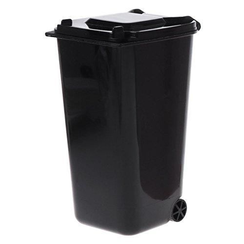 Runrain Mini Wheelie Mülleimer Stifthalter Storage Bin Desktop Organizer Mülleimer (Black)