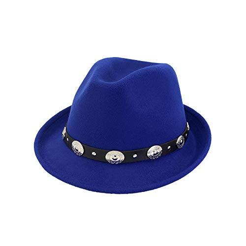 Frauen Hut breit flach Krempe Wollfilz Jazz Hut Western Western Cowboy Hut Paar Floppy Hat Hut (Farbe : Royal ()