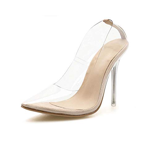 GHFJDO Women Pumps, Summer Transparent Pointed Sandals, Fashion New Cone High Heels Party Evening,Clear,36EU Cone Heel Sandal