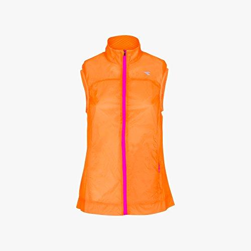 DIADORA L.WIND VEST 2017 Damen Laufweste Windweste Trainingsweste 102.172150(M,97004 MANGO RIPE) -