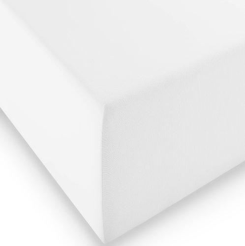 sleepling Komfort Jersey-Elastic Stretch Spannbettuch Spannbettlaken für Matratzen bis 30 cm Höhe (215 gr. / m²) mit 3{ed0a5d488cc9852f54cb9ee5e30544a9cbcfc29465c38f112de701b6c73de808} Elastan 180 x 200-200 x 220 cm, weiß