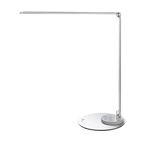 Lámpara LED Escritorio Estudio TaoTronics (ultra-delgada, aluminio aleado, cuidado ojos, 6 Brillo 3 modos de color, función de memoria inteligente, puerto de carga USB, energéticamente eficiente)