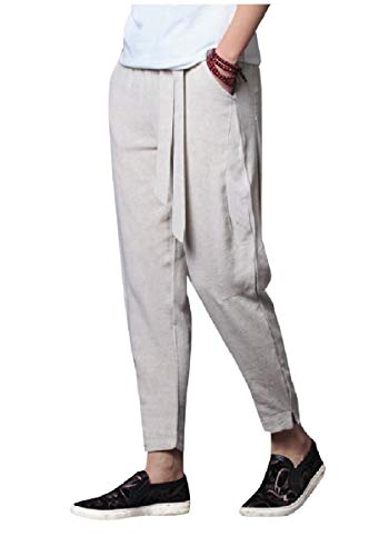 Tall Mens Tie (CuteRose Mens Tie Waist Chinese Style Big & Tall Breathable Harem Pants Beige 4XL)