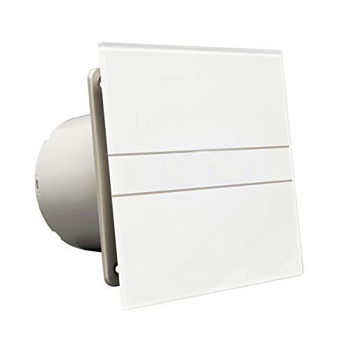 Ventilator Lüfter Badlüfter CATA E-100 GTH Timer / Nachlauf / Hygro / Feuchtesteuerung Feuchtesensor LED – Display Glasfront stark 115 m³/h / sehr leise 31 dB / energiesparend 8W / Kugellager / 2 Stufen / inkl. Dauerlauf