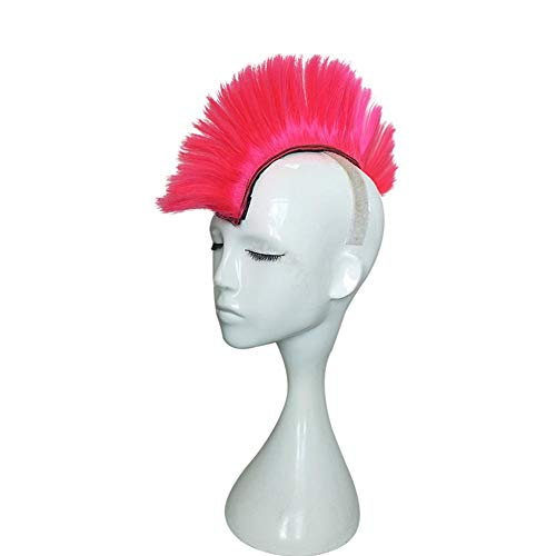 Finelyty Parrucca Stile Mohawk, Parrucca Casco Moto Halloween, Parrucca Modellante Cresta di Gallo Colorata, Capelli Casco Stile Mohawk in Fibra Chim
