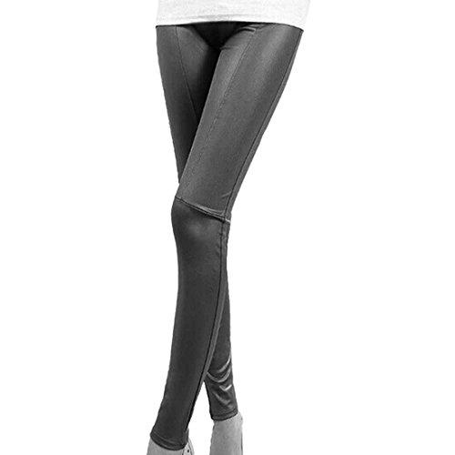 QIYUN.Z Imitacion De Cuero De Las Mujeres Del Remiendo De Las Polainas De Las Piernas Delgadas De Moda Los Pantalones Elasticos