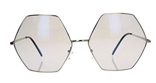 amashades Vintage Nerdies Großes Blogger Brillengestell für Damen Nerdbrille Metallrahmen gold Klarglas oversized sechseckig SE64 (6-eckig silber)