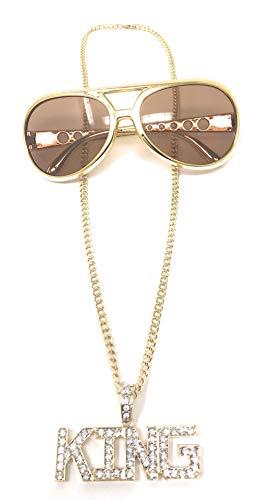 Unbekannt Set BABO Lude Macho Prolethen Hiphop Rapper Kette mit Brille Necklace King Strass Bling Bling