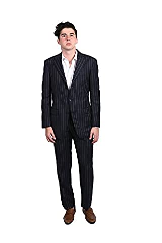 Versace Collection Men's Pinstripe Two-piece Wool Suit Navy/White