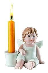 bavaria Porzellan-Figur Engel Max Zuversicht mit einem Kerzen-Halter, handbemalt. In Farbe, ca. 10 cm