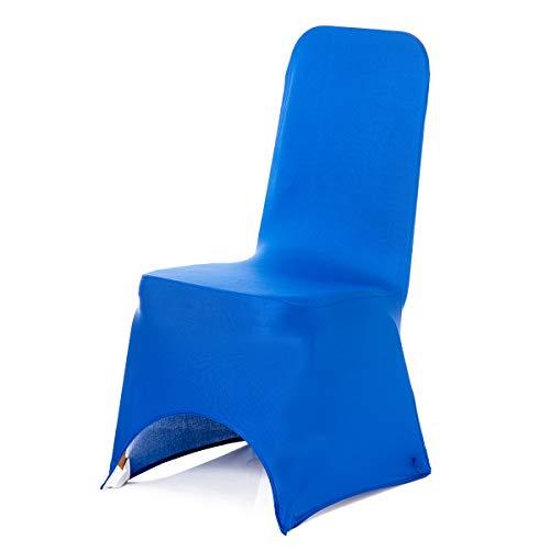 Trimming Shop Bleu Royal Housse de Chaise Spandex Lycra Mariage Banquet Fête d'anniversaire Fêtes Dîner Elastique Arqué Devant - Bleu Roi, Pack of 50
