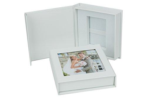 Hochzeit USB-Box mit Bildfenster. Weiß, Schwarz, Perlweiß Farbe Weiß