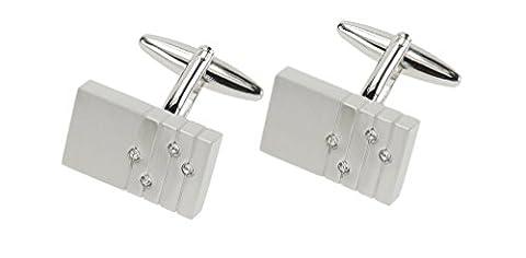 Superbes boutons de manchette avec cristaux étincelants dans un large choix de deux Designs, Ecru - 4 Czech Crystals and Lines, Taille unique