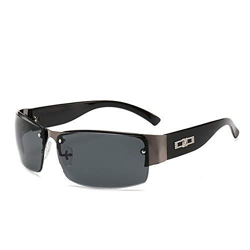 Herren- und Damenbrillen Herrenbrillen Metall-Sonnenbrillen mit weitem Bein Angeln Fahrradfahren Outdoor-Sportarten Brillen Sonnenbrillen Brille (Farbe : Schwarz, Größe : Free Size)