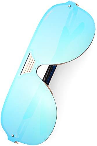 Verdster Blade Gafas De Sol De Aviador Oversize - Protección UV - Incluye un estuche, funda y un pañuelo (Niños - Azul, 50)