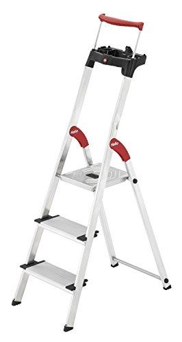Hailo XXR ComfortLine Alu Stehleiter (3 XXL-Stufen, EasyClix, Ablageschale, ausziehbarer Haltebügel, bis 150 kg) 8030-307