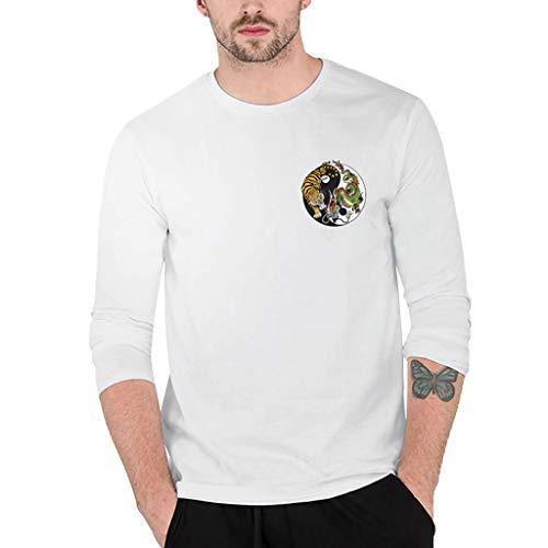dbf6ec7dd5f845 Herren Spleißen Drucken Lange Ärmel Bulliger Muskel Basic Solide Bluse T- Shirt Top