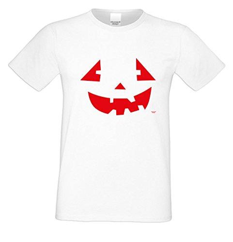 Grusel T-Shirt Herren Fun-Motiv Pumpkinface Geschenkidee Geburtstagsgeschenk Hexen Gespenster Geister Farbe: weiss Weiß