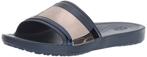 crocs Damen Sloane Metalblock Slide W Dusch- & Badeschuhe, Blau (Multi Navy 4jd), 42/43 EU - Crocs-damen Capri