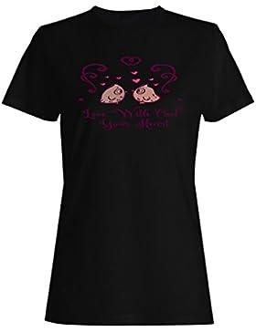 Amor Con El Búho Su Corazón camiseta de las mujeres n294f