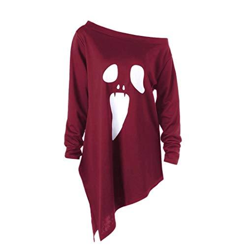(Lazzboy Halloween kostüm Damen Sweatshirt Pullover Bluse Geist Drucken Asymmetrisch Langarm Shirt Top (Rot,38))