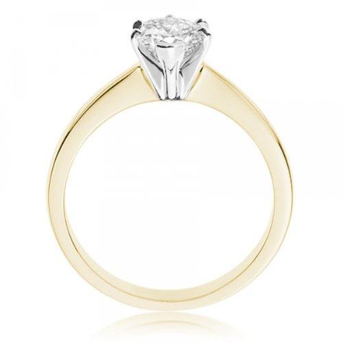 Diamond Manufacturers, Damen, Verlobungsring mit 0.25 Karat F/VVS1 feinem und zertifiziertem Tropfendiamant in 18k Gelbgold, Gr. 41 - 2