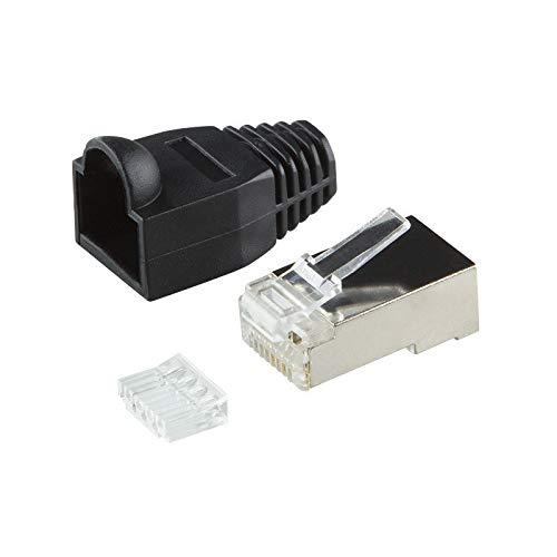 BIGtec 2 x RJ45 Stecker CAT.6 schwarz Gigabit Crimpstecker RJ-45 Modular Plug Ethernet LAN Kabel Steckverbinder Netzwerkstecker geschirmt CAT6 -