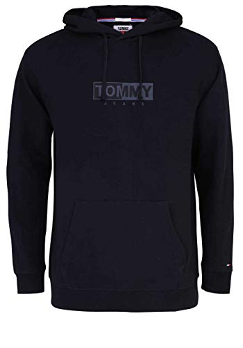 Tommy Jeans Herren TJM Fleece-Hoodie mit Stickerei - L (Tommy Hilfiger Jeans Relaxed Fit)