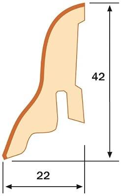1 Paket (= 10 St./25m) Sockelleisten KGM Express (22x42mm) - MDF weiss weiß foliert - inkl. Befestigungsclips