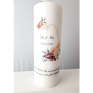 Taufkerze/Hochzeitskerze/Geburtskerze/Gedenkkerze Blumenkranz - Baby - Hochzeit - Geburt - Boho - Geschenk - Kerze - Blumen - Vintage - Pfingstrosen - personalisiert
