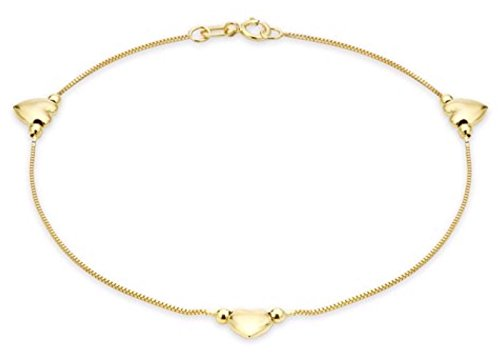 9ct Solid Gelb Gold 3Herzen Armband Box Kette mit Punze UK Geschenkbox (Tiffany Armband Box)